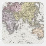 Mapa del atlas del hemisferio del este pegatina cuadrada