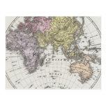 Mapa del atlas del hemisferio del este postal