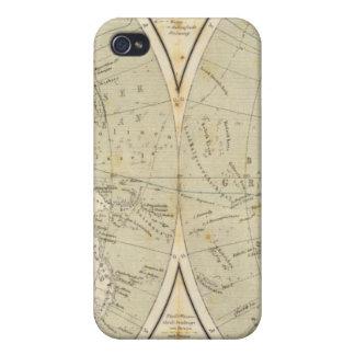 Mapa del atlas del hemisferio iPhone 4 carcasa
