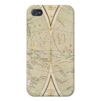 Mapa del atlas del hemisferio iPhone 4 carcasas