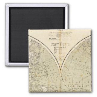 Mapa del atlas del hemisferio iman de nevera