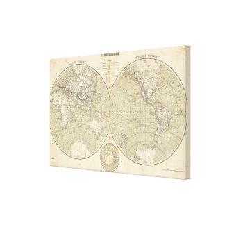 Mapa del atlas del hemisferio impresiones en lona