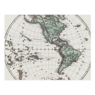 Mapa del atlas del hemisferio occidental tarjeta postal