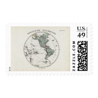 Mapa del atlas del hemisferio occidental timbres postales