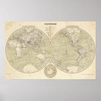 Mapa del atlas del hemisferio poster