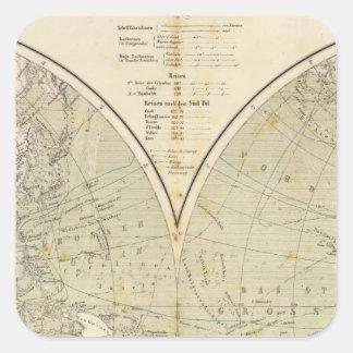 Mapa del atlas del hemisferio pegatina cuadrada