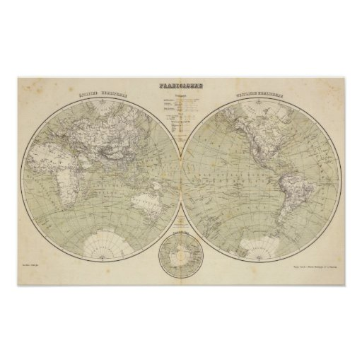 Mapa del atlas del hemisferio póster