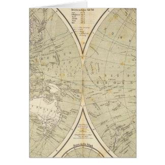 Mapa del atlas del hemisferio tarjetón