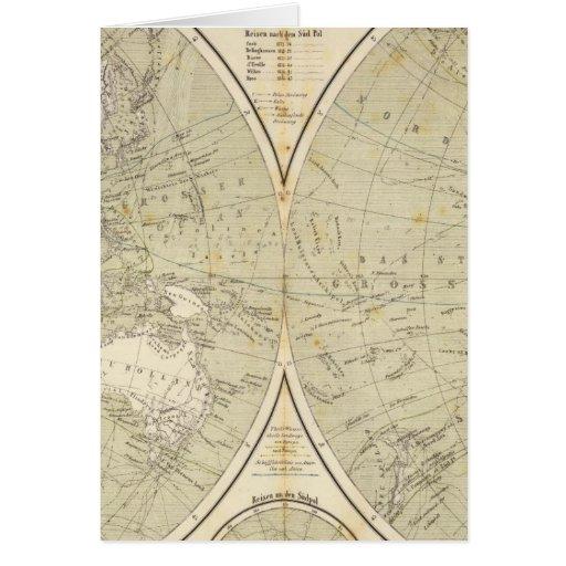 Mapa del atlas del hemisferio tarjeta de felicitación