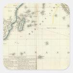 Mapa del atlas del Océano Índico Pegatina Cuadrada