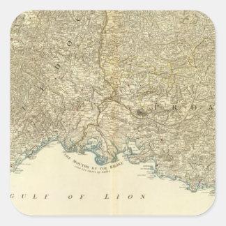 Mapa del atlas del SE Francia Pegatina Cuadrada