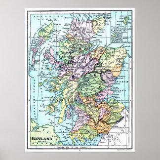 Mapa del atlas del vintage - Escocia Póster
