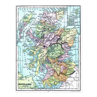 Mapa del atlas del vintage - Escocia Postal