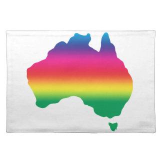Mapa del australiano llenado de colores del arco manteles