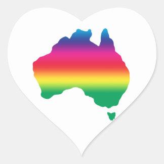 Mapa del australiano llenado de colores del arco pegatina en forma de corazón