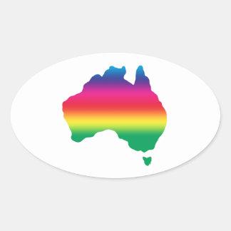 Mapa del australiano llenado de colores del arco pegatina ovalada