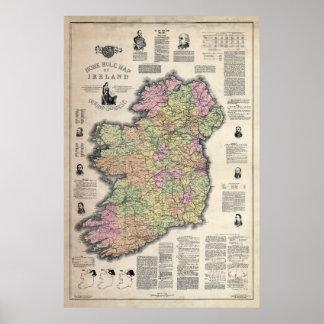 MAPA del AUTOGOBIERNO de IRLANDA 1893 Poster