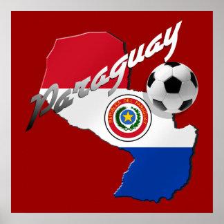 Mapa del balón de fútbol de la bandera de Paraguay Posters