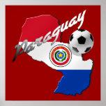 Mapa del balón de fútbol de la bandera de Paraguay Póster