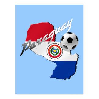Mapa del balón de fútbol de la bandera de Paraguay Tarjetas Postales