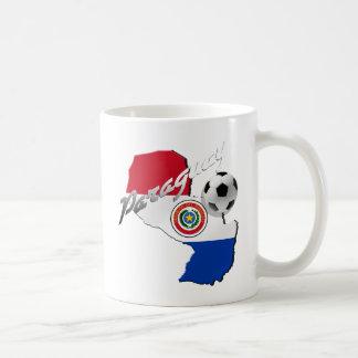 Mapa del balón de fútbol de la bandera de Paraguay Taza De Café