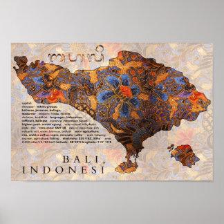 Mapa del batik tradicional de Bali Póster