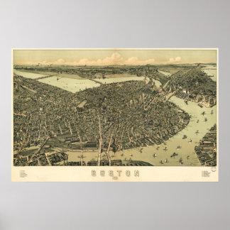 Mapa del birdseye de Boston - 1899 (caminante) Big Posters