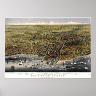 Mapa del birdseye de Chicago - 1874 (párrocos y Póster