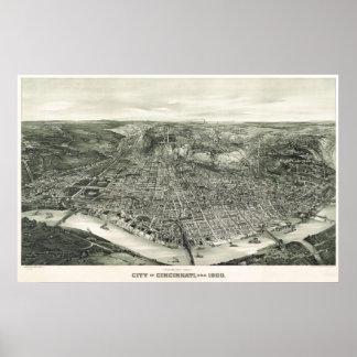 Mapa del birdseye de Cincinnati - 1900 (Henderson) Poster