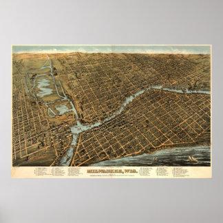 Mapa del birdseye de Milwaukee - 1872 (Bailey) Póster