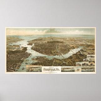Mapa del birdseye de Norfolk - 1892 (Wellge) Póster