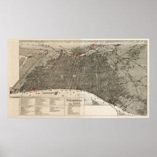 Mapa del birdseye de Philadelphia - 1887 McFetrid Posters
