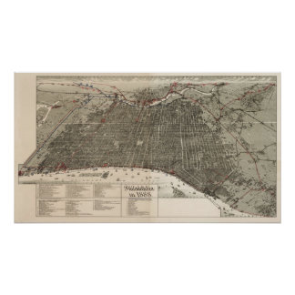 Mapa del birdseye de Philadelphia - 1887 Póster