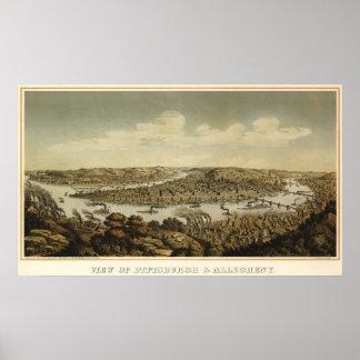 Mapa del birdseye de Pitsburgh - 1874 (Krebs) Póster