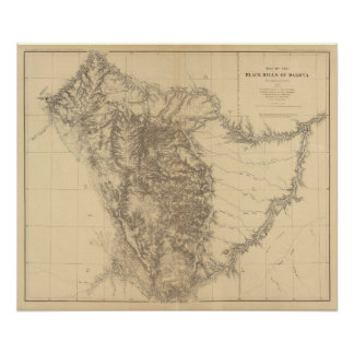 Mapa del Black Hills de Dakota Impresiones