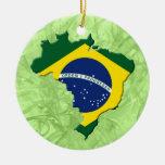Mapa del Brasil Adorno Navideño Redondo De Cerámica