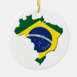 Mapa del Brasil Adorno Redondo De Cerámica