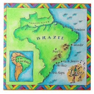 Mapa del Brasil Azulejo Cuadrado Grande
