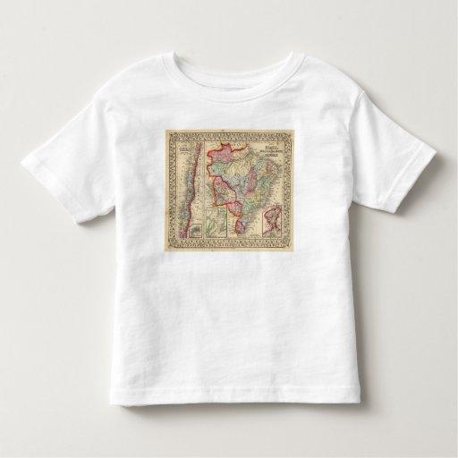 Mapa del Brasil, Bolivia, Paraguay, Uruguay de Camisas