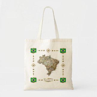 Mapa del Brasil + Bolso de las banderas Bolsa Tela Barata