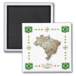 Mapa del Brasil + Imán de las banderas