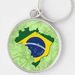 Mapa del Brasil Llavero Redondo Plateado