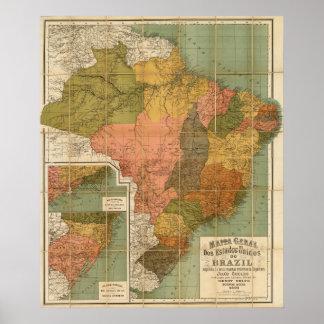 Mapa del Brasil Poster