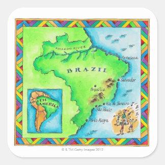 Mapa del Brasil Pegatina Cuadrada