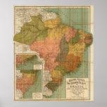 Mapa del Brasil Póster