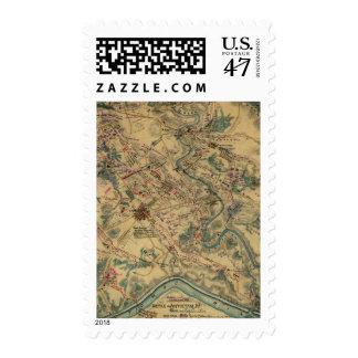 Mapa del campo de batalla de Antietam del vintage Sellos Postales