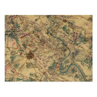 Mapa del campo de batalla de Antietam del vintage  Tarjeta Postal