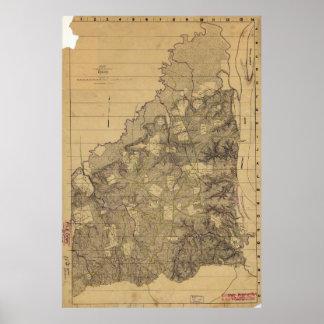 Mapa del campo de batalla de Shiloh el 6 de abril Poster