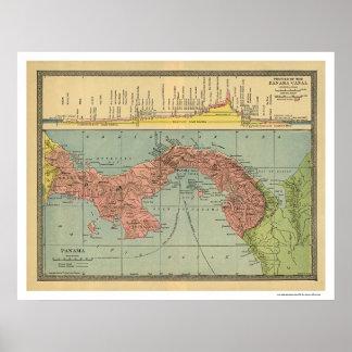 Mapa del Canal de Panamá - 1904 Póster