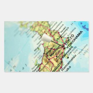 Mapa del capital de Japón, Tokio Pegatina Rectangular